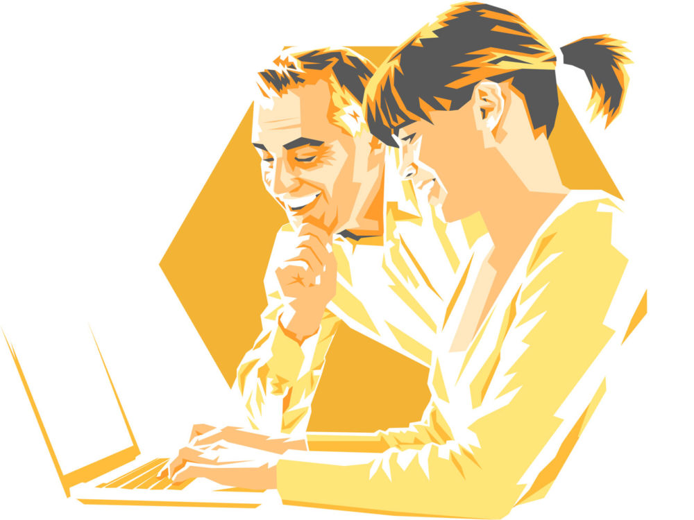 Illustration of man and woman looking at laptop